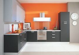 design of kitchen furniture. Simple Furniture Kitchen Orange Walls And Grey Cabinets Ok Its Needs More  Island But I Love The Colors Throughout Design Of Kitchen Furniture L