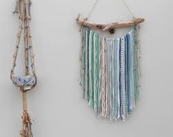 wall hanging blue green macrame wall hanging mixed media wall hanging yarn wall