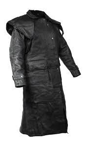 cowhide leather black duster jacket