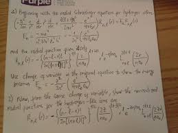 beginning with the radial schrodinger equation for hydrogen atom and the radial function given