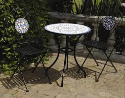 white iron outdoor furniture. backyard patio ideas furniture exquisite white round outdoor table with small porcelain mosaic iron n