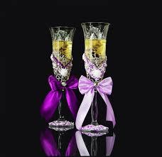 wedding gles chagne toasting flutes gift for bride and groom wedding gift chagne flutes bohemian cristal gl purple wedding set