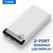 Pin Sạc Dự Phòng TOPK I1013 10000mAh Có Đèn LED Cho Xiaomi Huawei iPhone 12  Samsung - Pin sạc dự phòng di động
