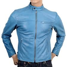 rmc martin ksohoh blue kid leather jacket with nehru jacket redm4490
