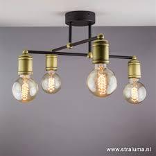 Landelijke Plafondlamp Brons Woonkamer Straluma