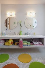Contemporary Kids Bathroom with Palmera 2 Light Wall Sconce, Double sink,  penny tile counters, Kids bathroom