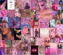 Pink Baddie Wall Collage Pink Wallpaper ...