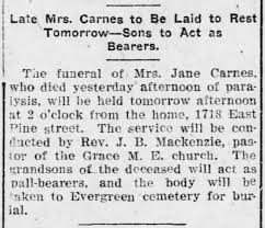 Jane Carnes Funeral 10 Dec 1910 - Newspapers.com