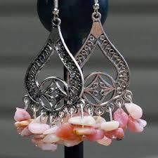 pink opal earrings natural opal stone chandelier earrings su