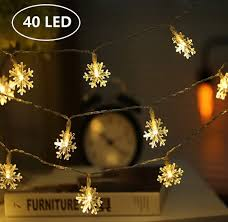 LED Christmas Snowflake String Lights Battery Operated (Warm White) White