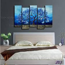 blue color life tree handmade modern abstract jpg