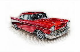 Car drawing car print Chevy Print Car Illustration   Etsy