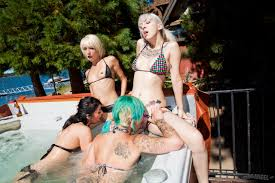 Drunk chicks with tattoos have all girl lesbian orgy in swimming.