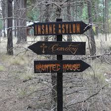 Decisions 3 Halloween Lawn Ornament Sign - Haunted House Cemetery Insane  Asylum Creepy Scary Horror -