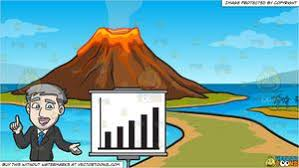 Volcano Chart A Mature Businessman Showing A Performance Chart And A Volcano Island Background
