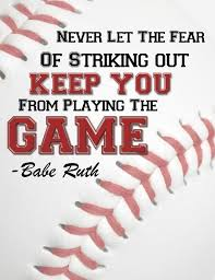 best baseball images baseball stuff softball  boy s print room art baseball art don t let the fear of stricking out babe ruth