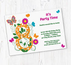 8th Birthday Party Invitations Butterfly 8th Birthday Party Invitations Customise Online Plus