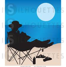 Silhouette Clipart of a Woman Reading in a Beach Chair by Maria Bell