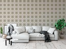 interlocking chains geometric pattern wallpaper mural beige in living room