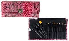 eco brushes groupon beaute basics 15 piece pro makeup brush set with faux reptile case in