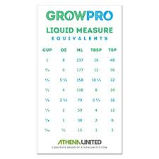 Conversion Chart For Liquids In Ml Grow Pro Liquid Measure Magnet Weight Volume Conversion Chart Measuring Cups Cup Ounces Oz Milliliters Ml Table Spoons Tbsp Teaspoons Tsp