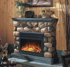 stone fireplace electric stacked stone electric fireplace heater