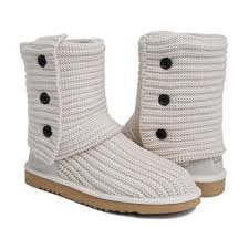 UGG Australia Womens 5819 Classic Cardy Knit Boots White  UGG 5819 White  -   121.10