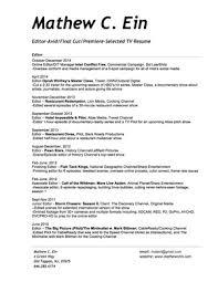 Resume — Mathew C. Ein - Editor