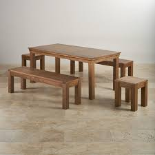 french farmhouse rustic solid oak dining set 6ft table with two 4ft 11in benches and two square stools