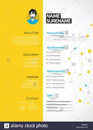 Creative Cv Template With Yellow Paper Stripe Stock Vector Art