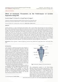 Cyclone Design Parameters Pdf Effect Of Geometric Parameters On The Performance Of