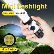 8000 Lumen Mạnh Nhất Led Đèn Pin Đèn Pin Mini Usb 4 * XPG LED Chống Thấm  Nước Pin Sạc 18350/18650 Trại Ánh Sáng|LED Flashlights