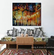 hand painted abstract rainy city night palette knife oil painting on canvas thick texture for