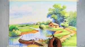 learn landscape painting with oil pastel step by step with color information