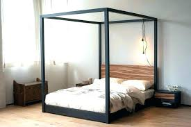 black wood canopy bed – popic