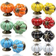 2018 Vintage Pumpkin Ceramic Door Knobs Cabinet Drawer Cupboard ...