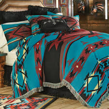 bedspread western bedding queen size turquoise flame tapestry coverlet lone star decor luxury comforter sets twin bedroom full set blue king black and