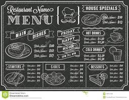 Chalk Board Menu Board Chalkboard Restaurant Menu Template Stock Vector