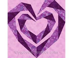 Twisting Spiral Heart quilt block, paper pieced quilt patterns PDF ... & Twisting Spiral Heart quilt block, paper pieced quilt patterns PDF instant  download heart quilt pattern heart patterns wedding quilt pattern Adamdwight.com