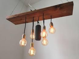 Esstischlampe Aus Altem Holzbrett Und Glühbirnen Diy