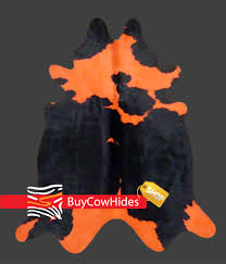brazilian cowhide rug dyed holstein orange and black cowhide rugs cowhides