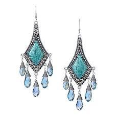 she lian vintage silver tone rhinestone jewelry big dangle chandelier earrings