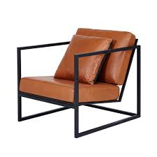 modern designer stanley armchair  black metal frameleather seating