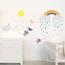 happy clouds rainbow nursery childs bedroom wall sticker decals