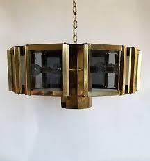 lg mid century mod fredrick ramond sputnik vintage brass smoke glass chandelier
