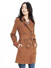 women s fashion outerwear trenchcoats brown suede trenchcoats banana republic suede trench