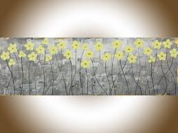sunshine by qiqigallery 36 x 12 original abstract painting gray yellow flower acrylic painting modern art canvas art home decor wall art birthday giftsold