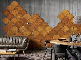 fish scale ocher colored cork wall tiles can be used for creating your wall art