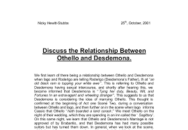 discuss the relationship between othello and desdemona gcse  document image preview