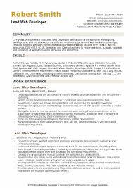 Php Developer Resume Lead Web Developer Resume Samples Qwikresume